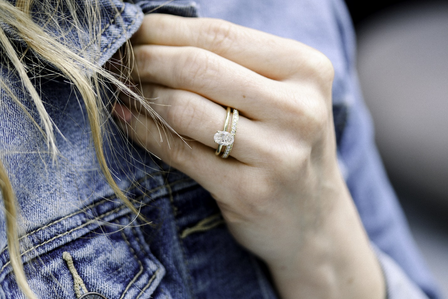 bride wearing a resized engagement ring